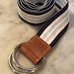 GAP blue, navy, and white striped ribbon belt.